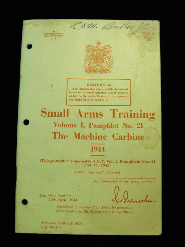 1944 Machine Carbine Small Arms Training Pamphlet