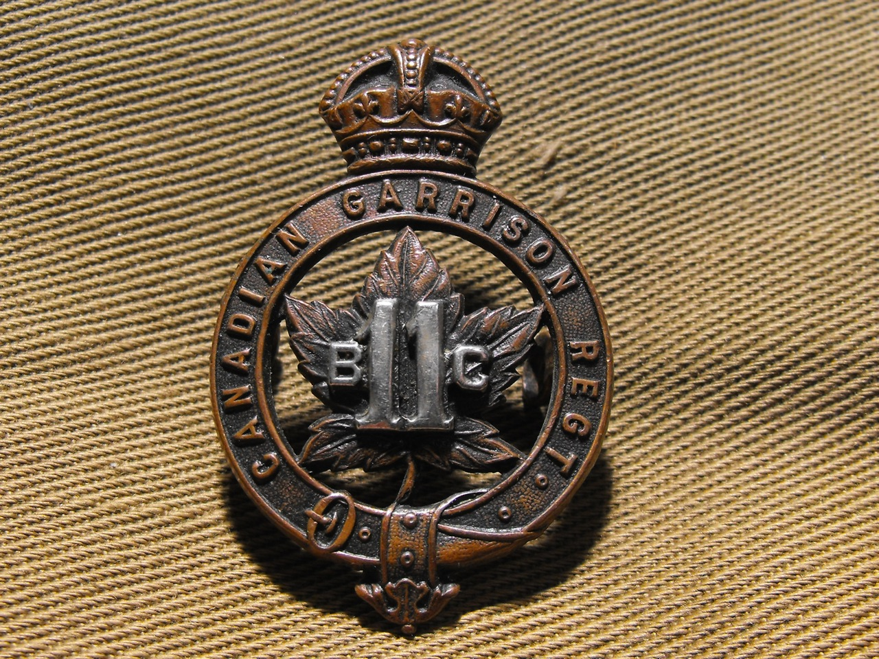 11th B.C. Garrison Regt. Cap Badge