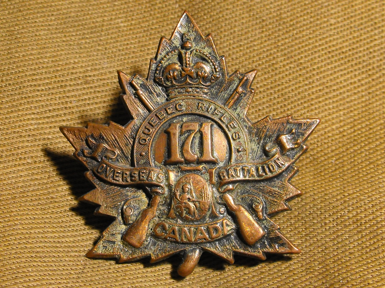 171st Bn (Quebec Rifles) Cap Badge
