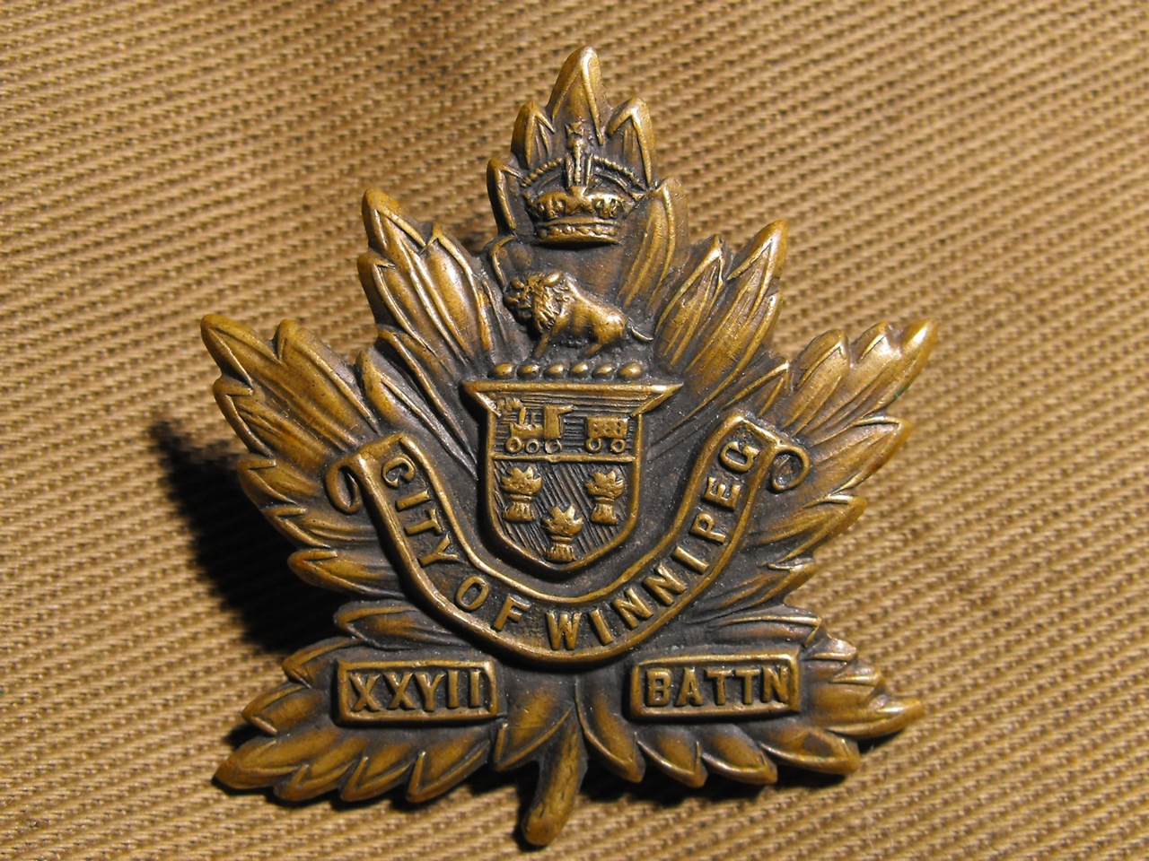 27th City of Winnipeg Cap Badge